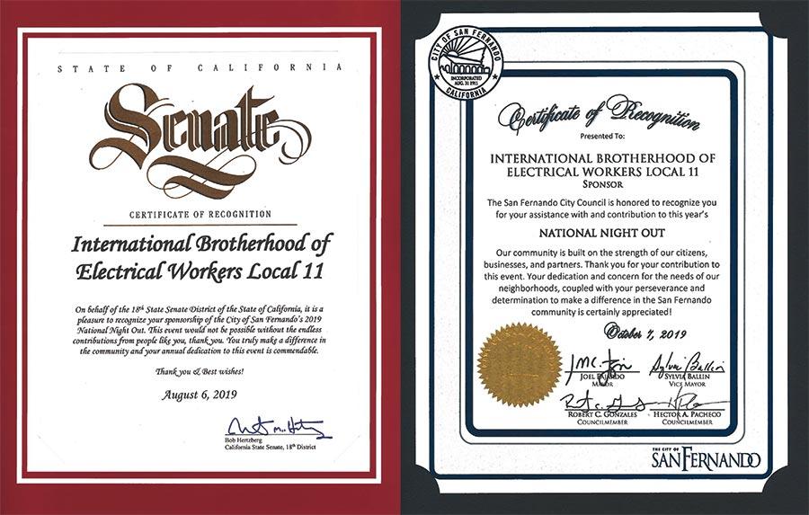 IBEW 11 Recognized by State Senate, City of San Fernando