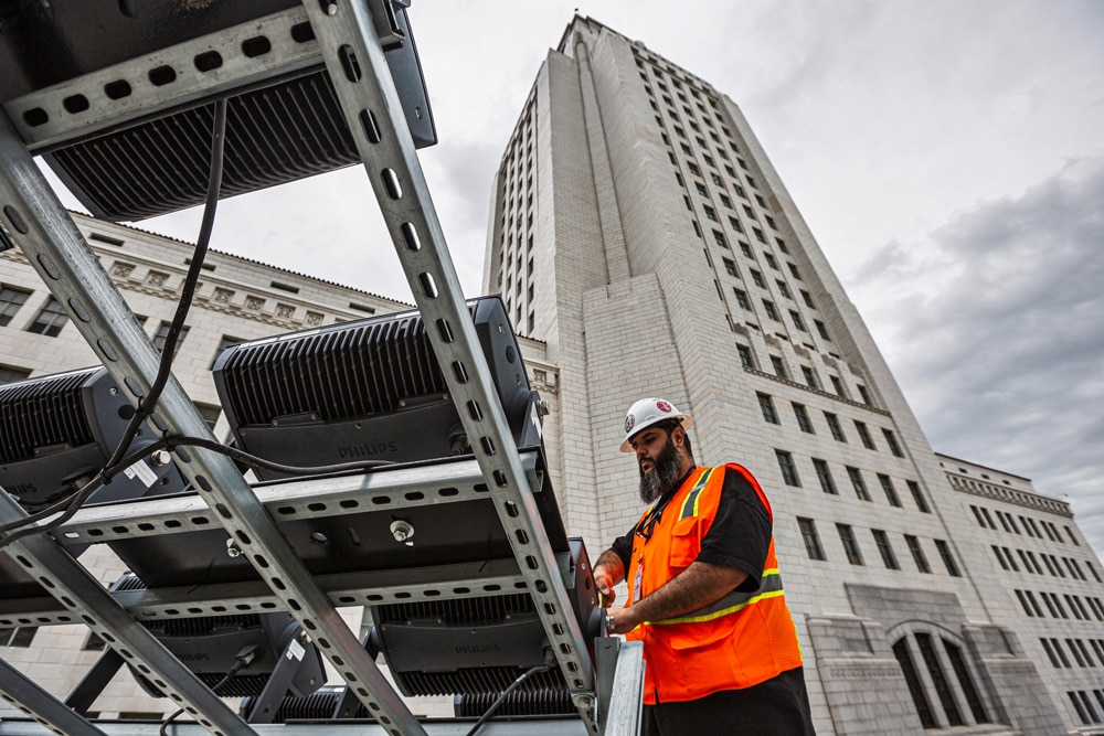 How Local 11 Members Rigged LA City Hall For a Unique Lighting Display