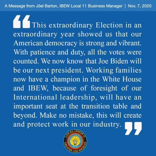 Election Message from Business Mgr. Joel Barton